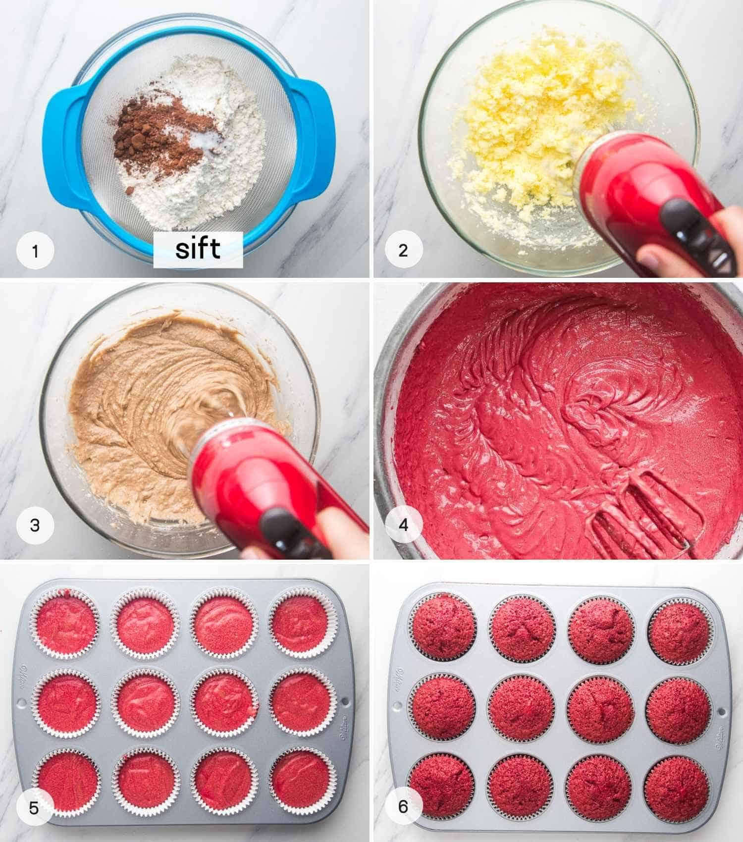 A collage of 6 images on how to bake red velvet cupcakes