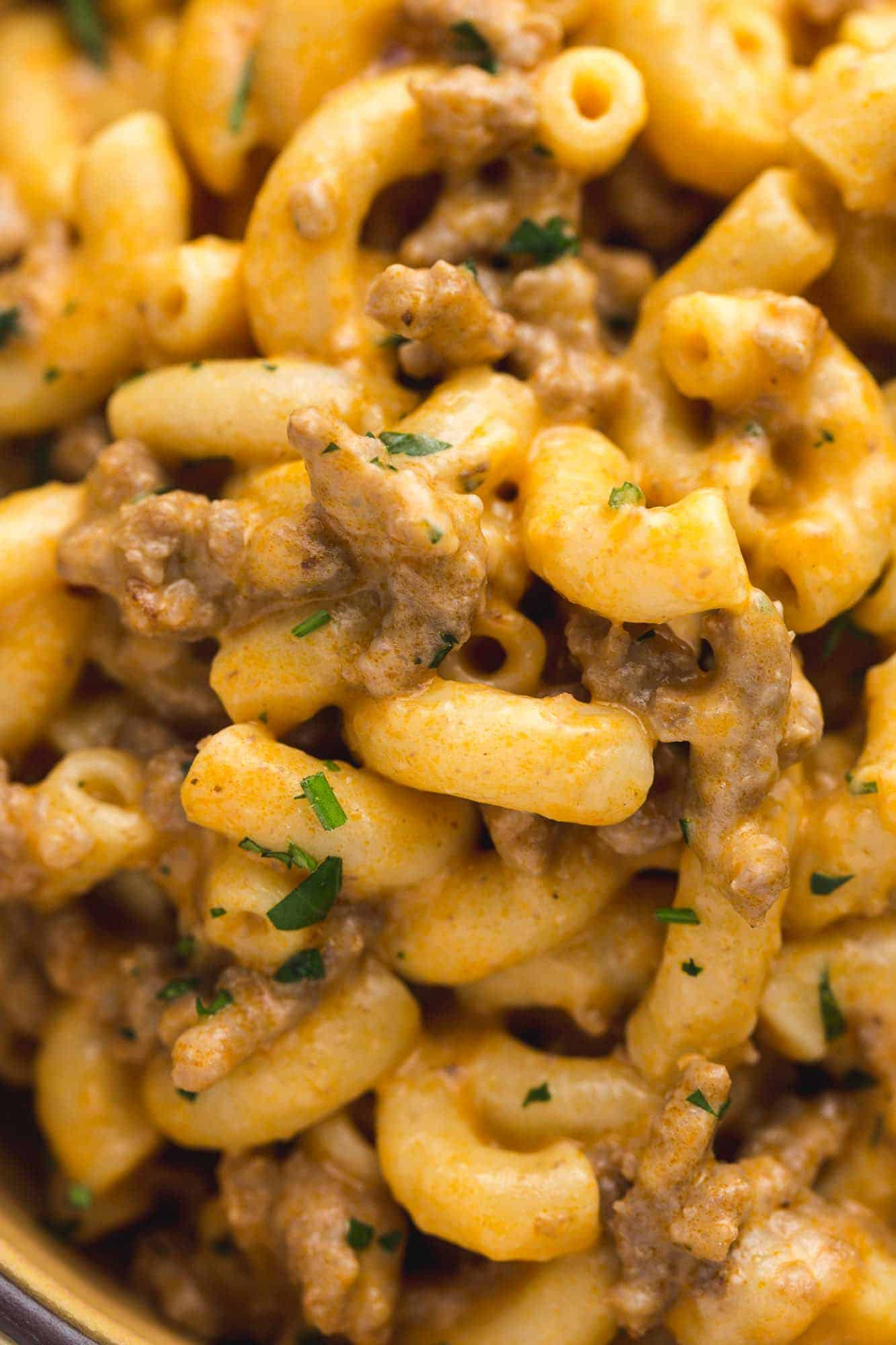 A closeup picture of the Instant Pot Hamburger Helper