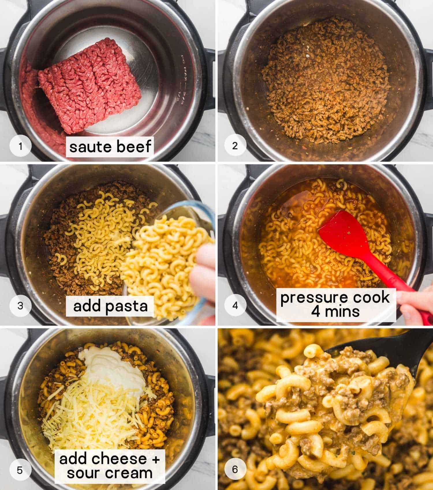 The easy 6 steps showing how to cook this recipe in the Instant Pot, starting from browning the beef, to garnishing it and serving the meal while it's still warm.