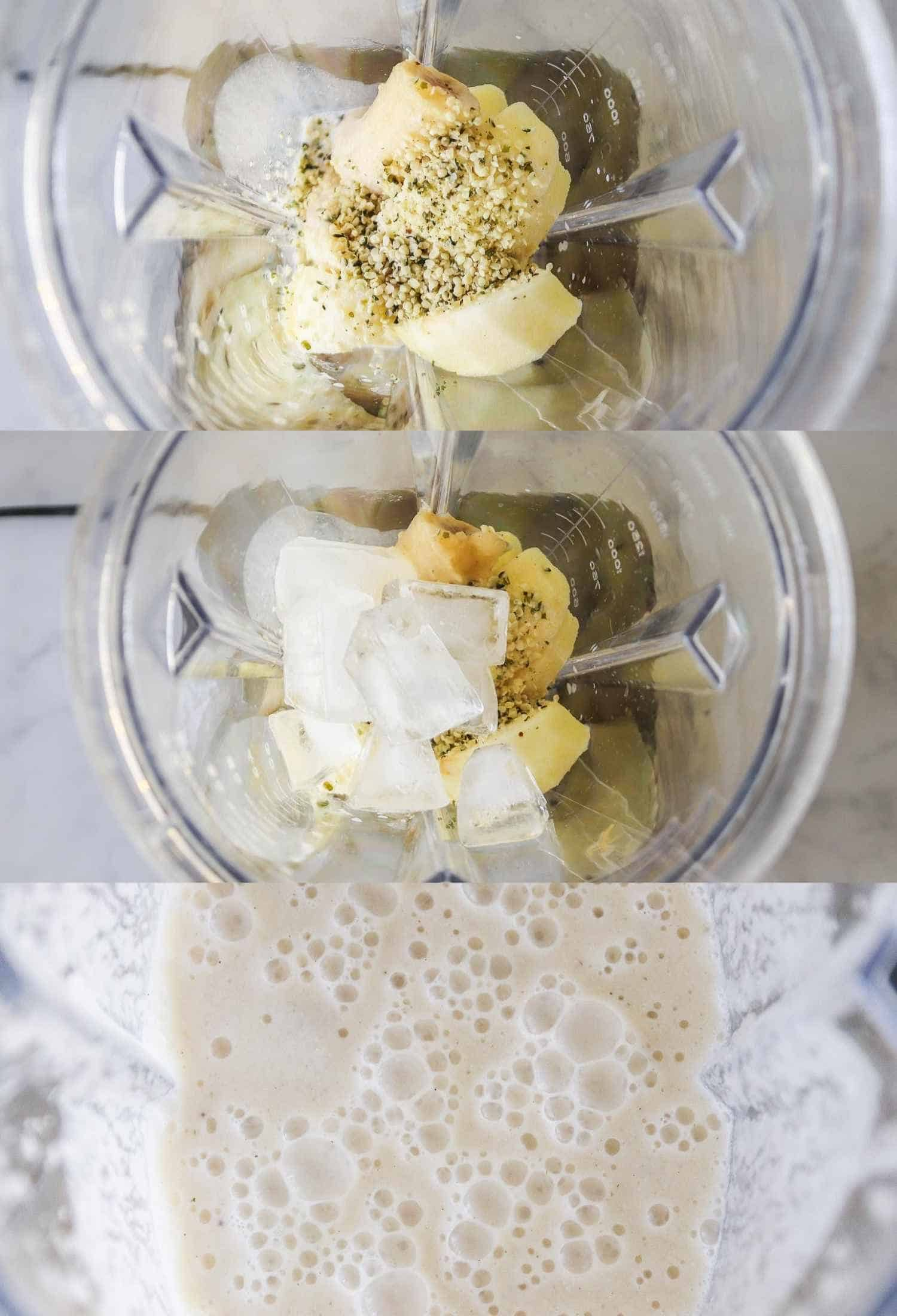 Three photos showing the steps for making this smoothie recipe in a blender jug
